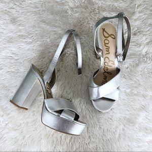 Sam Edelman Silver Platform Block Heels Size 9